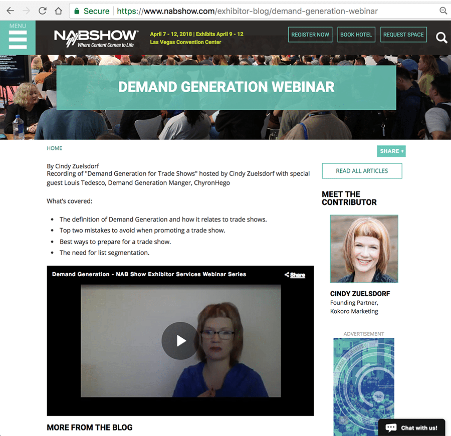 Cindy Zuelsdorf and Louis Tedesco webinar for NAB Show about Demand Generation