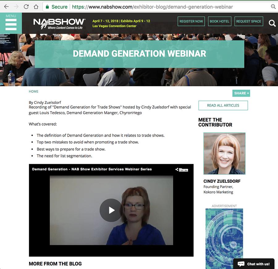 Cindy Zuelsdorf and Louis Tedesco webinar for NAB Show about Demand Generation