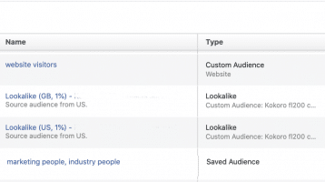 Facebook custom audience menu