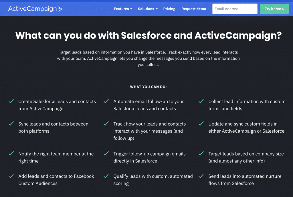 Active Campaign salesforce integration - sales automation and marketing automation