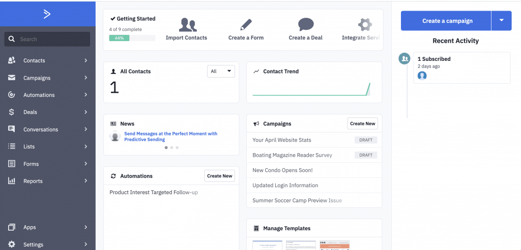 Active Campaign UI Dashboard